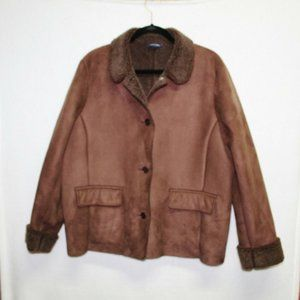 Lands End brown sherpa button front winter coat XL